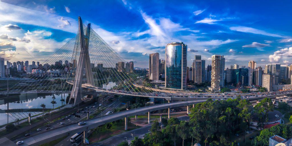 View of Ponte Estaiada bridge, Sao Paolo, Brazil