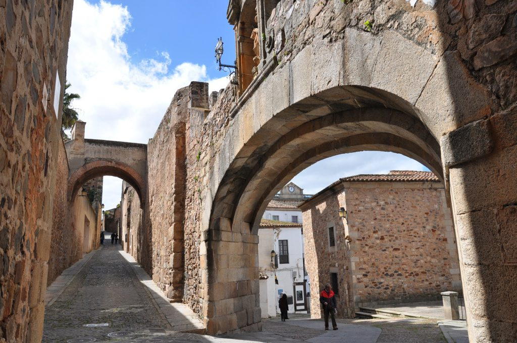 Medieval streets of Cáceres, Spain.